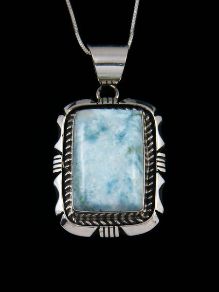 Sterling Silver Blue Larimar Navajo Made Pendant