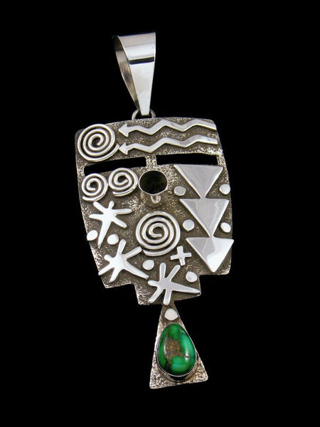 Navajo Sterling Silver and Royston Turquoise Petroglyph Pendant