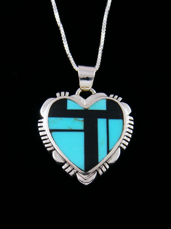 Native American Turquoise and Onyx Heart Inlay Pendant