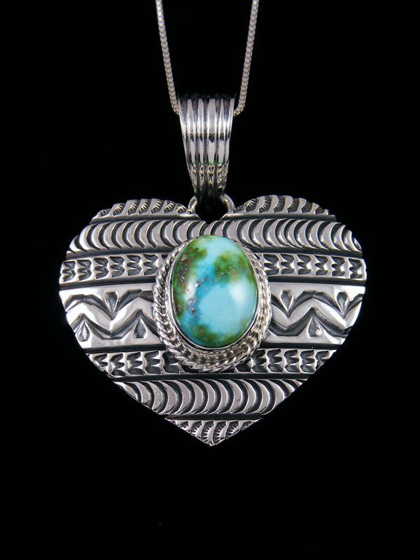 Native American Sonoran Gold Turquoise Sterling Silver Heart Pendant