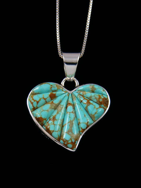Navajo Cornrow #8 Turquoise Sterling Silver Reversible Heart Pendant