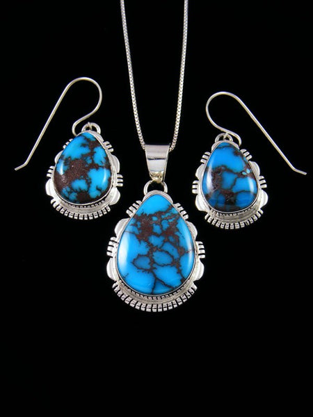 Native American Egyptian Turquoise Pendant and Earring Set