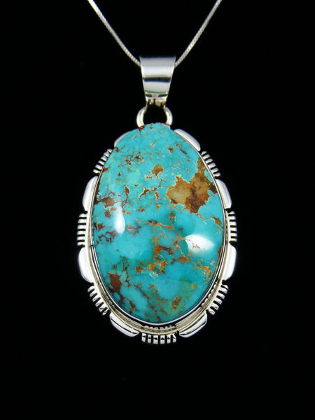 Native American Sterling Silver Natural Royston Turquoise Pendant