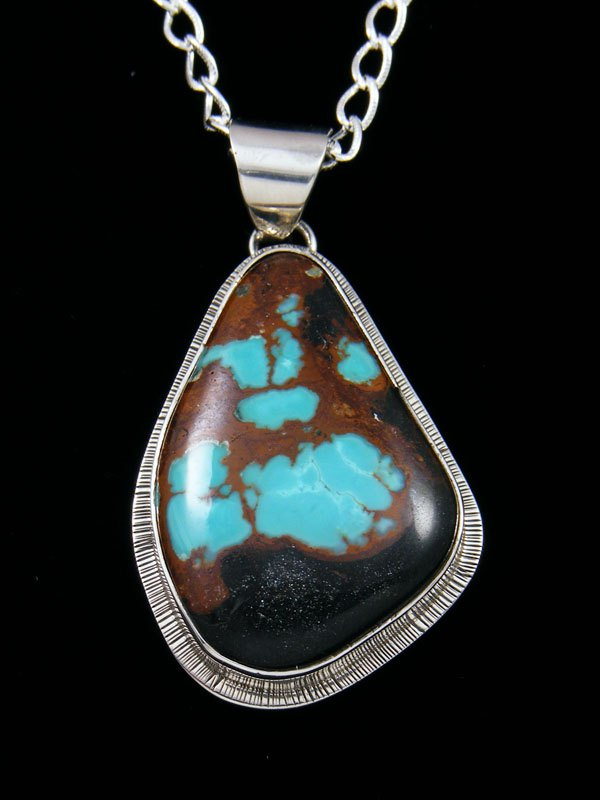 Native American Indian Jewelry Boulder Turquoise Pendant