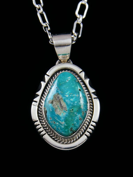 Fox Turquoise Navajo Sterling Silver Pendant