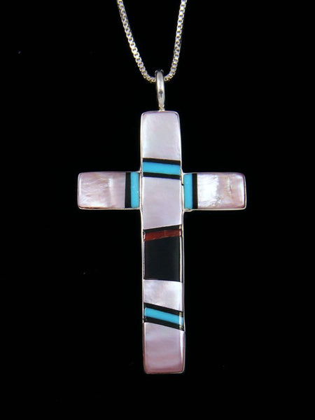 Sterling Silver Zuni Inlay Pink Shell Cross Pendant