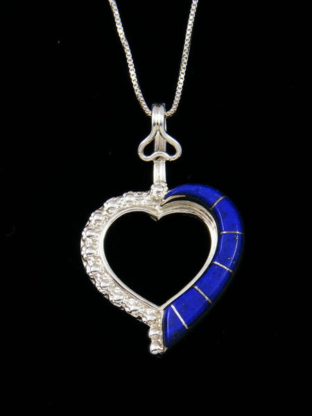 Navajo Sterling Silver Lapis Heart Pendant