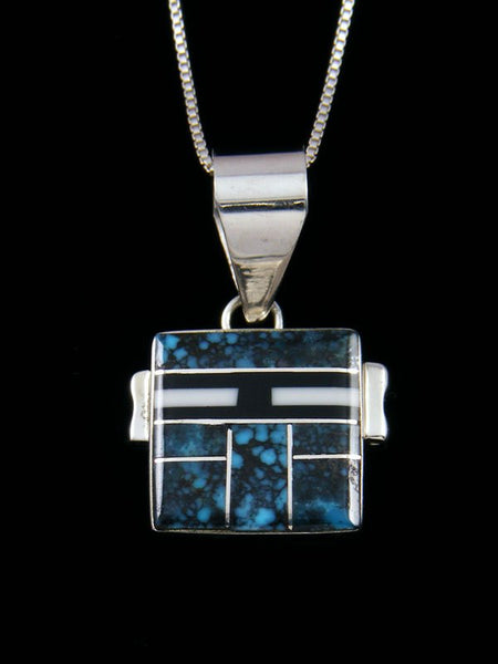 Navajo Sterling Silver Turquoise Inlay Yei Pendant