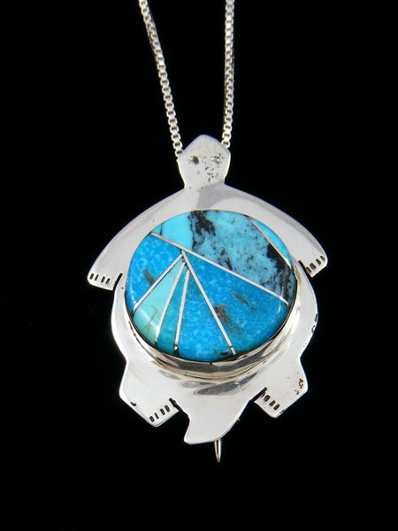 Native American Turquoise Inlay Turtle Pin Pendant