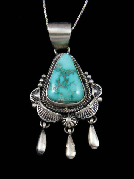 Native American Sterling Silver Carico Lake Turquoise Pendant