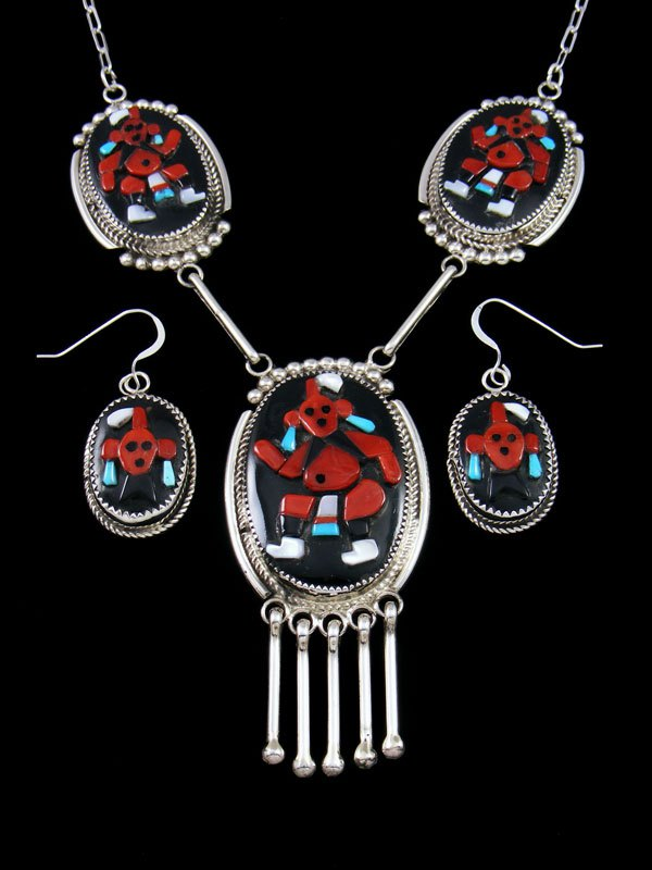 Sterling Silver Zuni Inlay Mudhead Necklace and Earrings Set
