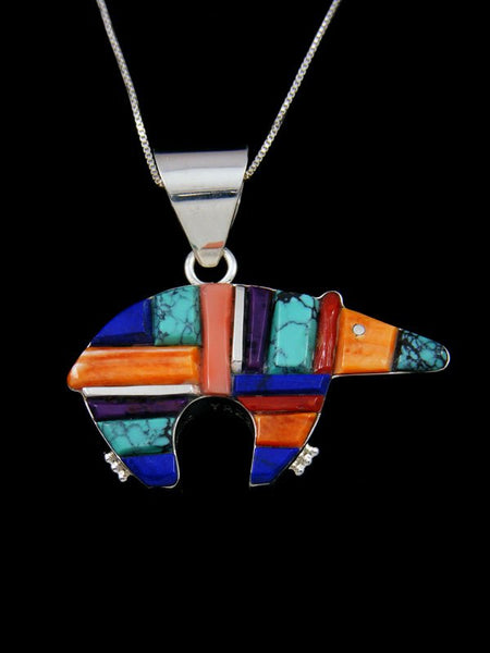 Navajo Sterling Silver Reversible Turquoise Bear Inlay Pendant
