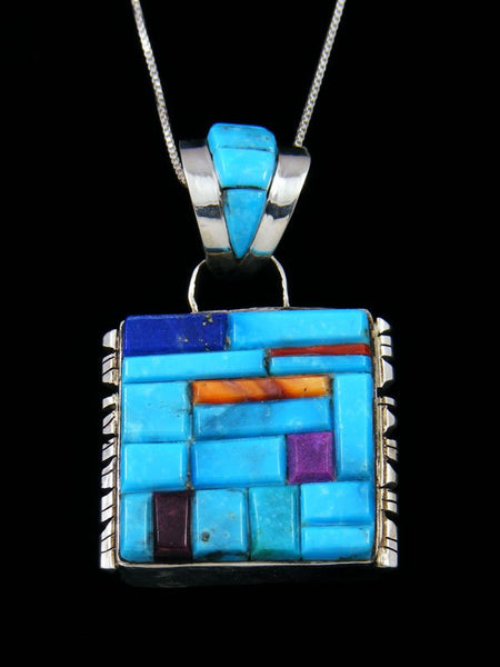 Navajo Cobblestone Inlay Sterling Silver Turquoise Pendant