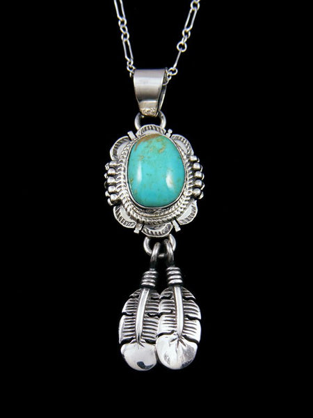 Native American Indian Jewelry King Manassa Turquoise Feather Pendant