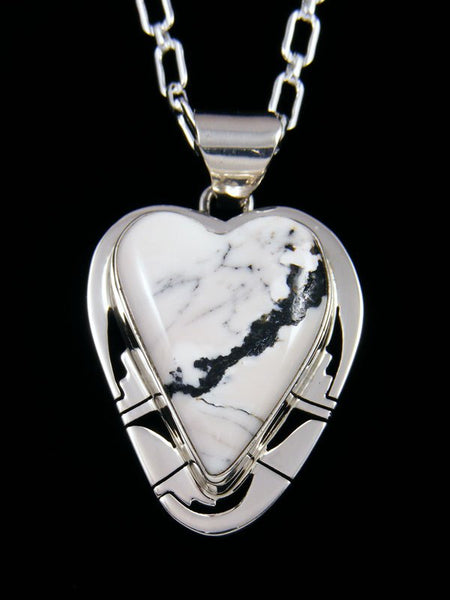 Native American Indian Jewelry White Buffalo Heart Pendant