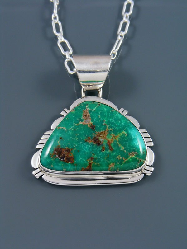 Emerald Valley Turquoise Navajo Sterling Silver Pendant