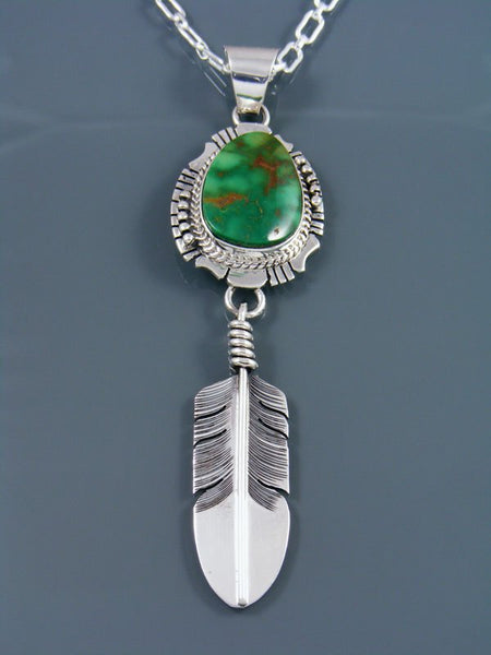 Native American Indian Jewelry Emerald Valley Turquoise Feather Pendant