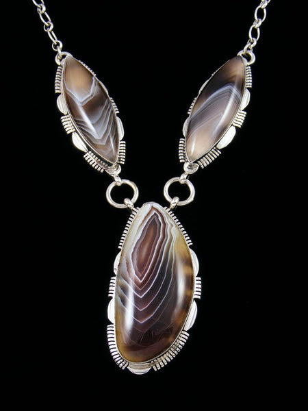 Native American Sterling Silver Botswana Agate Necklace