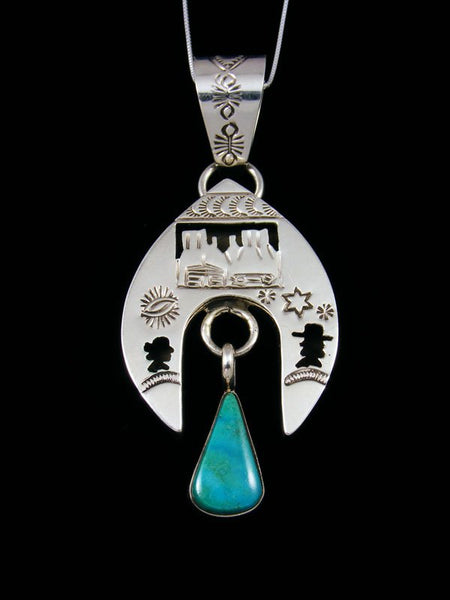 Navajo Turquoise Shadowbox Sterling Silver Pendant