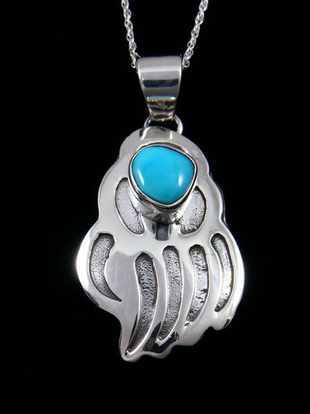 Native American Sleeping Beauty Overlay Bear Paw Pendant
