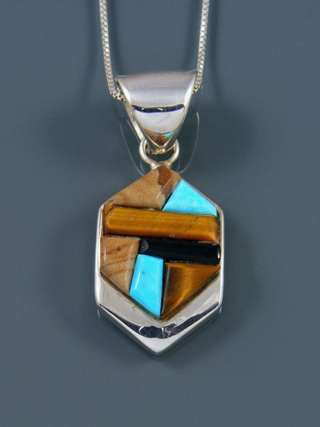Native American Turquoise and Tiger Eye Cobblestone Inlay Pendant