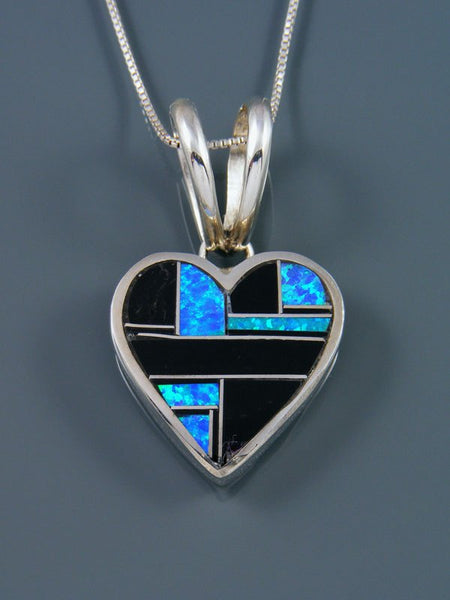Native American Black Jade and Opalite Inlay Heart Pendant