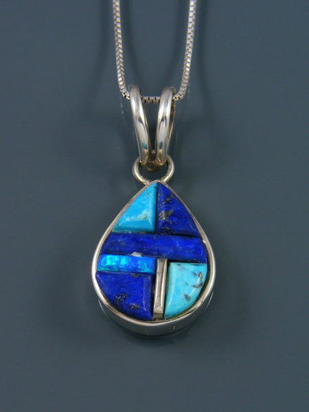 Native American Turquoise and Lapis Cobblestone Inlay Pendant