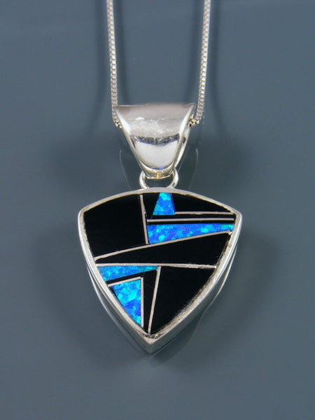 Native American Black Jade and Opalite Inlay Pendant