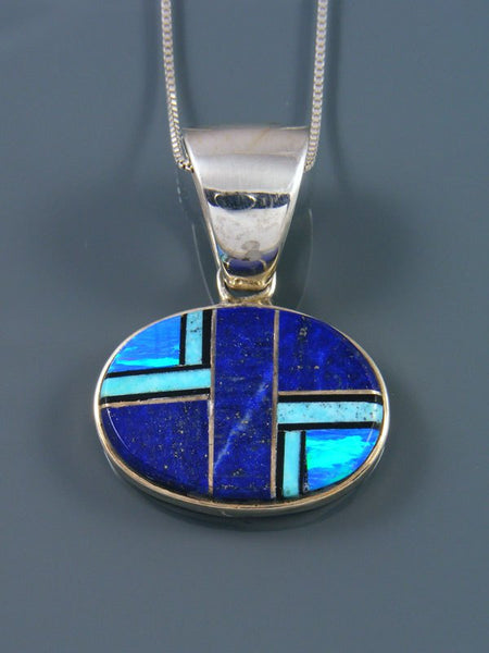 Native American Turquoise and Lapis Inlay Pendant