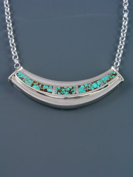 Native American Turquoise Inlay Pendant Choker