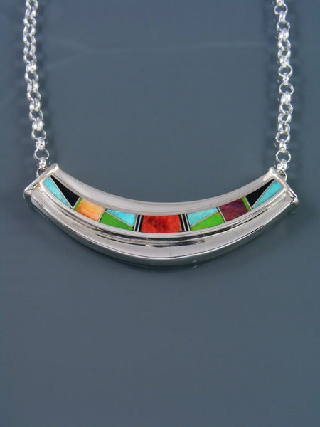 Native American Multistone Inlay Pendant Choker