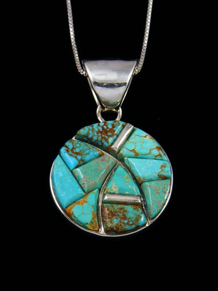 Native American Turquoise Cobblestone Inlay Pendant