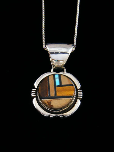 Native American Turquoise and Tiger Eye Inlay Pendant