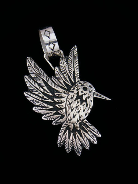 Native American Sterling Silver Overlay Humming Bird Pendant