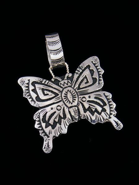 Native American Sterling Silver Overlay Butterfly Pendant