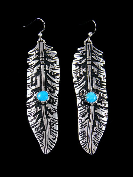 Navajo Sterling Silver Overlay Dangle Feather Turquoise Earrings