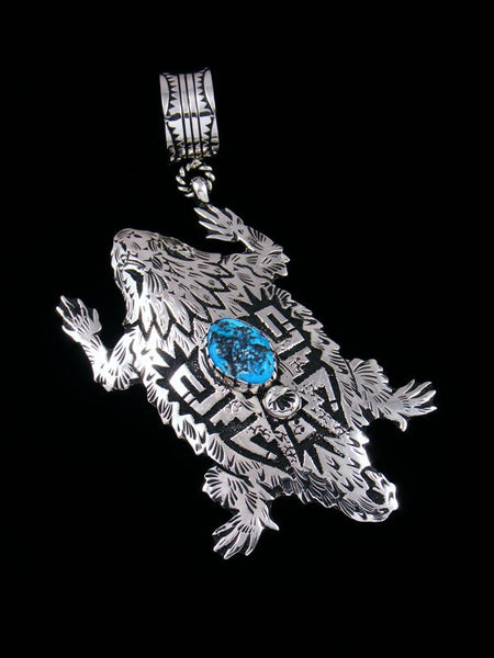 Native American Sterling Silver Overlay Horned Toad Pendant