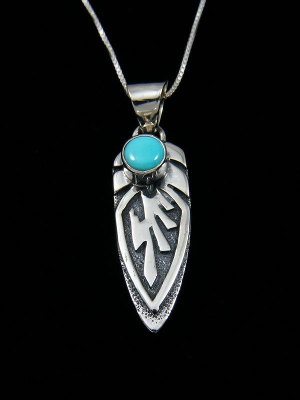 Navajo Necklace Turquoise Feather Pendant