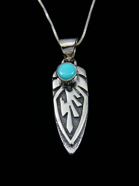 Navajo Necklace Inlay Turquoise Feather Pendant