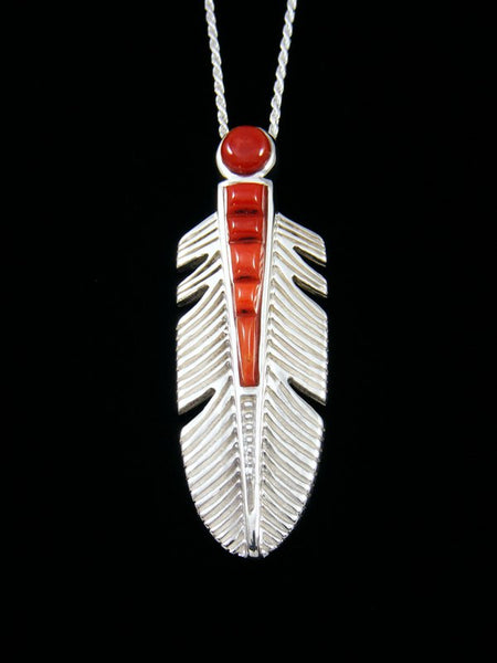 Navajo Coral Cobblestone Feather Inlay Pendant