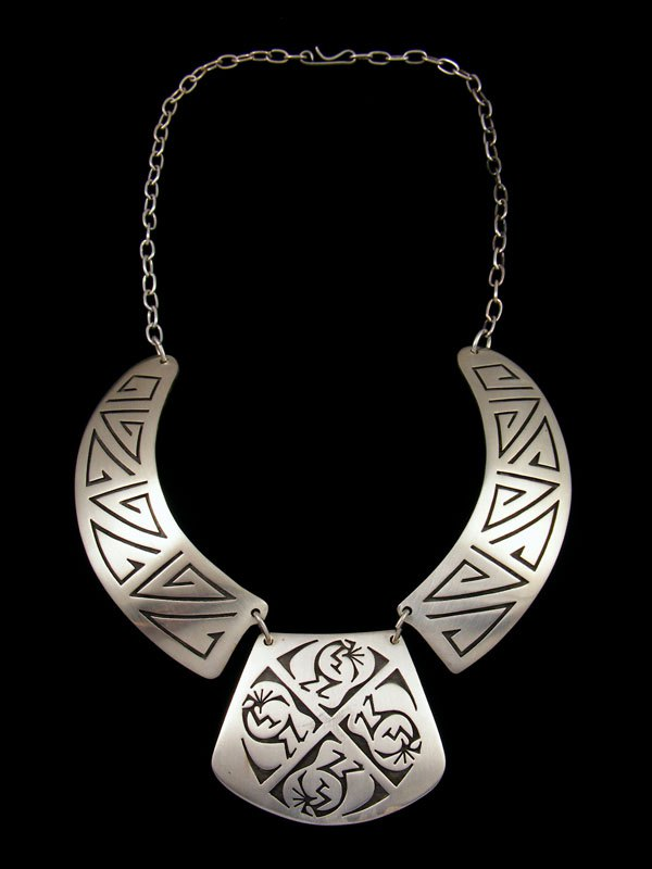 Native American Sterling Silver Hopi Style Overlay Choker Necklace