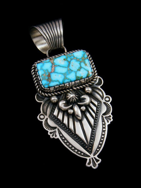 Native American Kingman Turquoise Sterling Silver Pendant