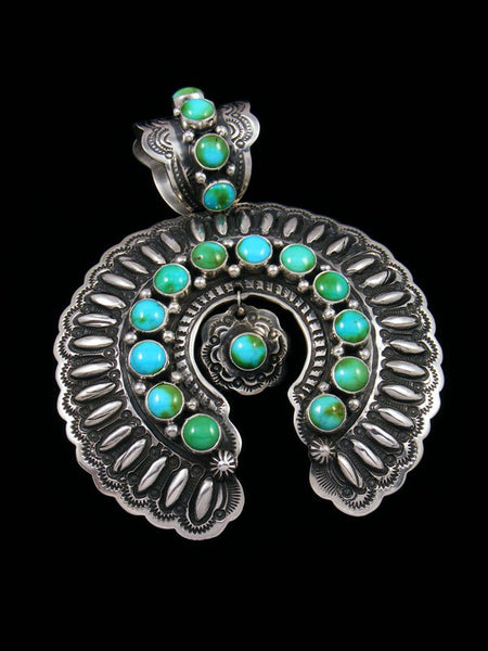 Large Native American Indian Sterling Silver Sonoran Turquoise Naja Pendant