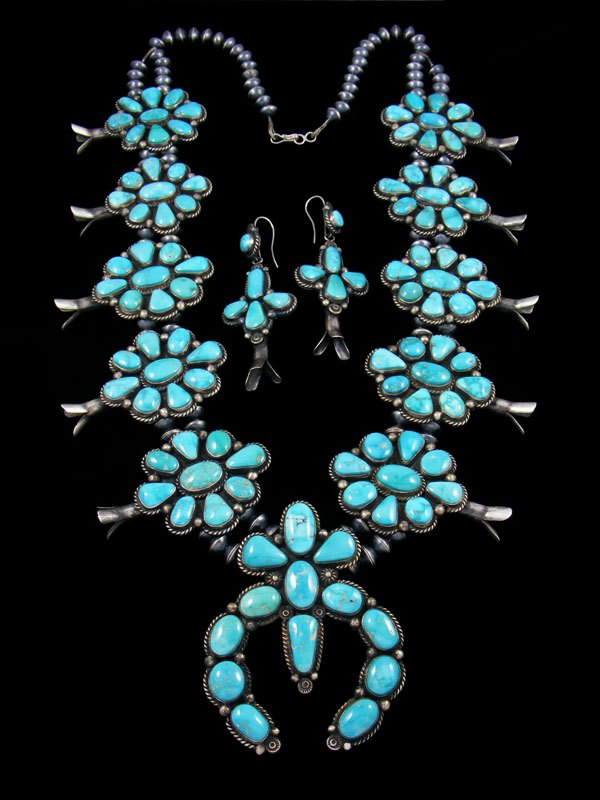 Native American Natural Fox Turquoise Squash Blossom Necklace