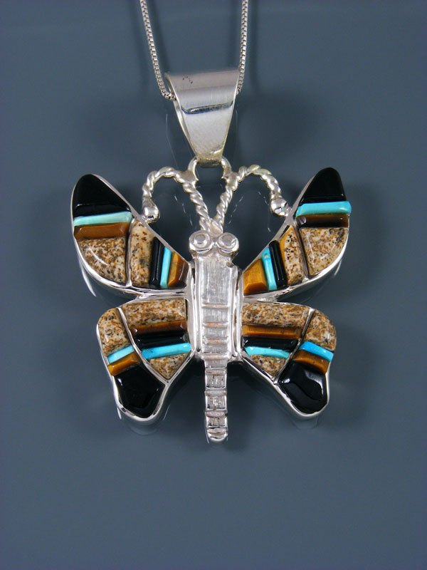 Navajo Inlay Onyx and Jasper Butterfly Pendant
