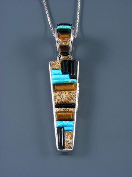 Navajo Reversible Jasper and Turquoise Inlay Pendant