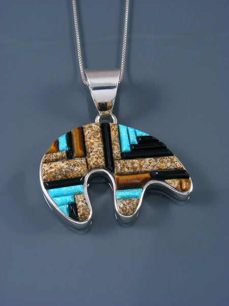 Cobblestone Inlay Reversible Turquoise and Jasper Bear Pendant