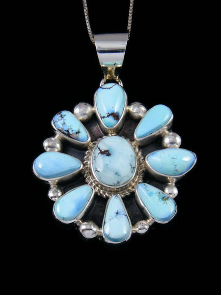 Sterling Silver Golden Hill Turquoise Navajo Cluster Pendant