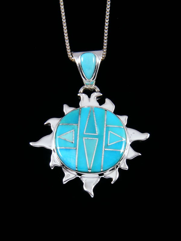 Large Native American Turquoise Inlay Sun Pendant