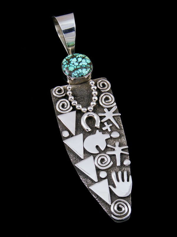 Navajo Sterling Silver and Blue Moon Turquoise Petroglyph Pendant